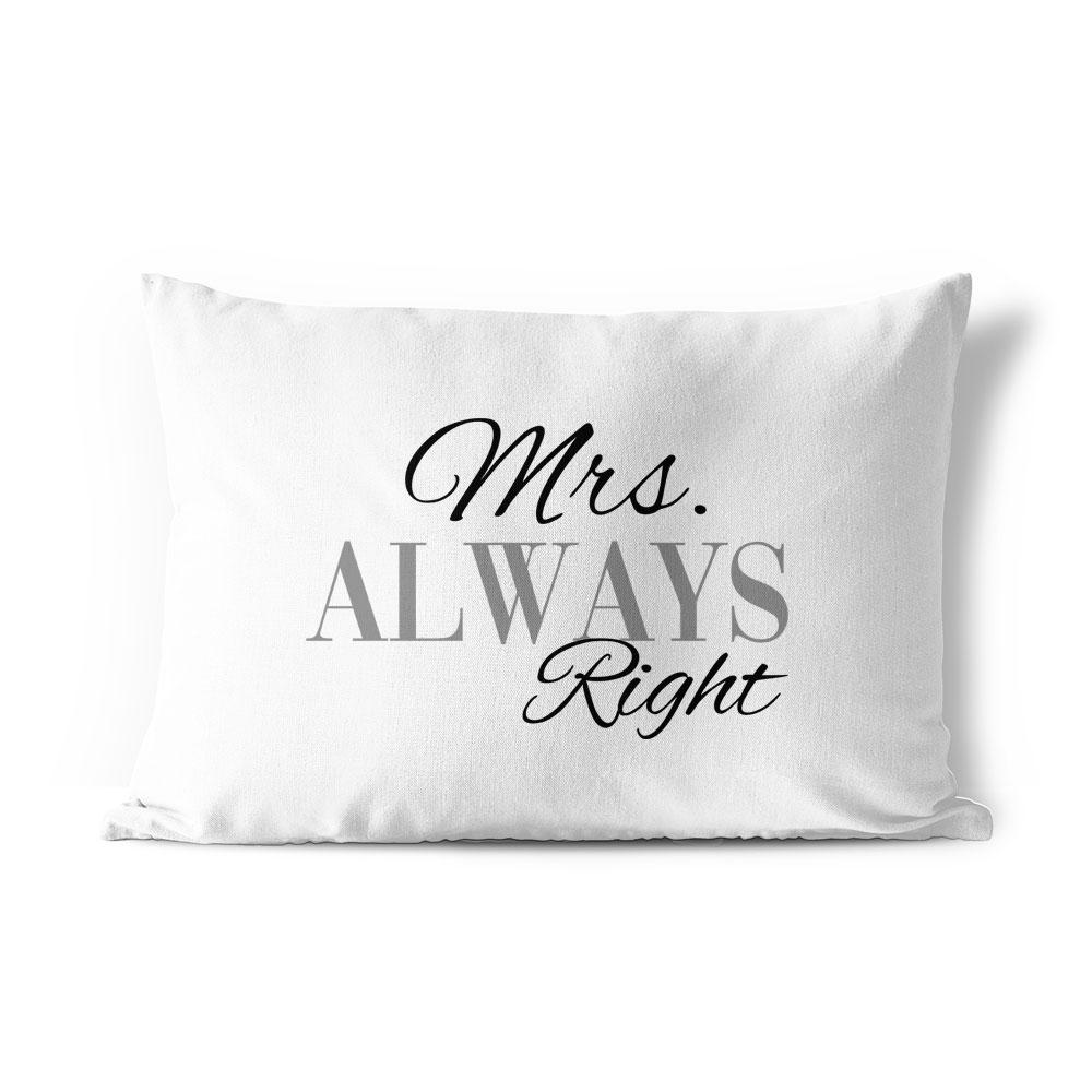 Home Decor Pillows Regalo San Valentino Right Mrs Coppia Di Federe Per Cuscini Mr Always Right Indian South Asian Home Decor Pillows